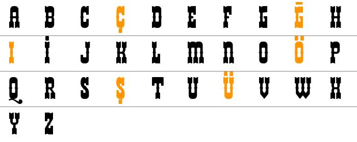 Kovboy font kategorisinde bulunan helldorado isimli yazı tipini