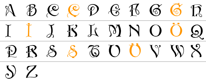 Initials with curls Büyük Harfler