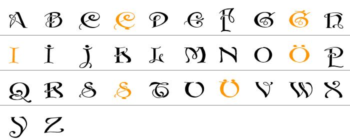 Initials with curls Küçük Harfler