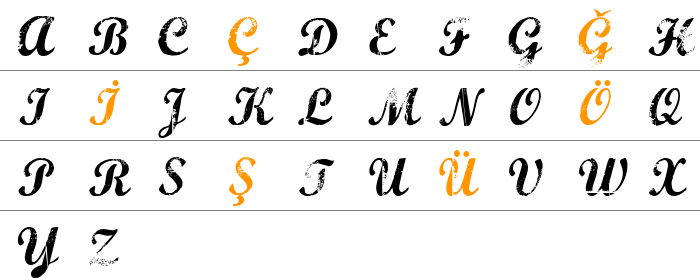 Marcelle Script Büyük Harfler