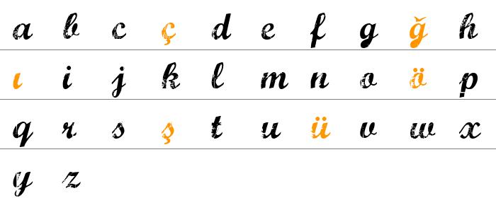 Marcelle Script Küçük Harfler
