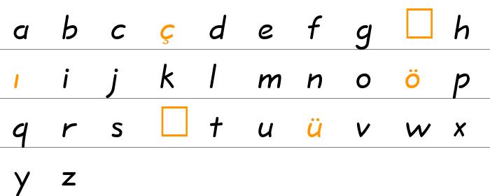 QuillScript Küçük Harfler