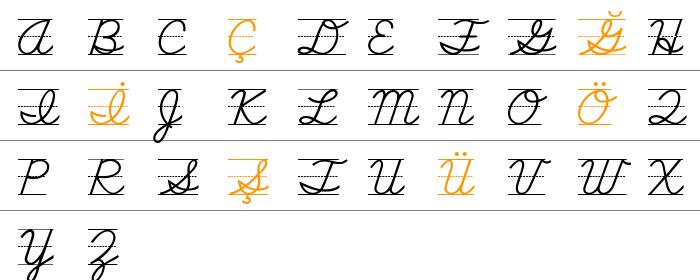 SchoolScriptDashed Büyük Harfler