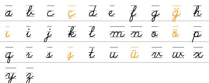 Schoolscriptdashed rakam ve işaretler