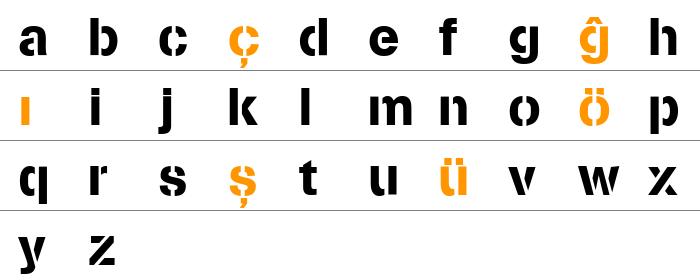 Stencilia-A Küçük Harfler