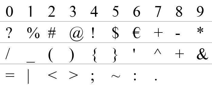 Times Sans Serif Rakam ve İşaretler