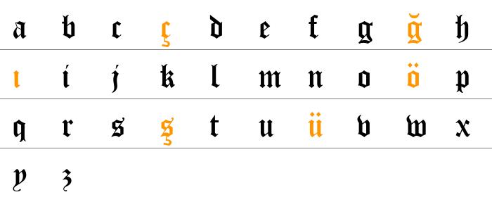 CloisterBlack BT Küçük Harfler