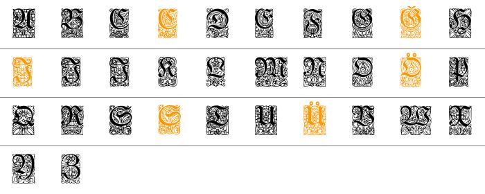 Unger-Fraktur Zierbuchstaben Küçük Harfler