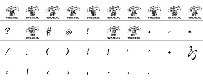 Acryle Script Rakam ve İşaretler