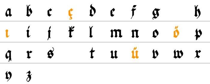 Ehmcke Federfraktur Küçük Harfler
