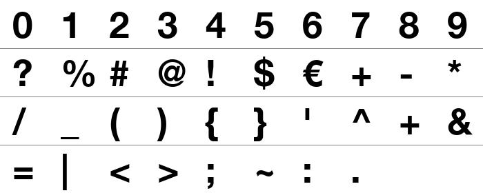 Helvetica Türkçe Rakam ve İşaretler