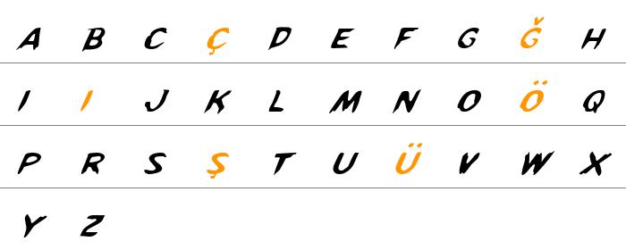 Kreeture Italic Büyük Harfler