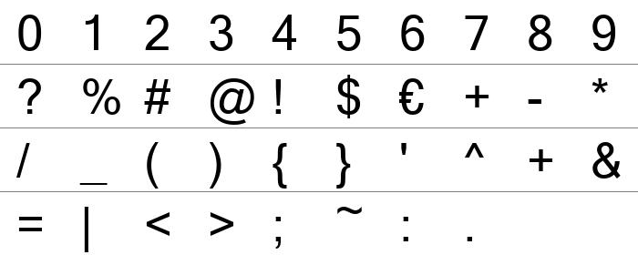Microsoft Sans Serif Rakam ve İşaretler