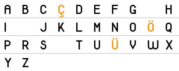 Modern Sans Serif 7 Büyük Harfler