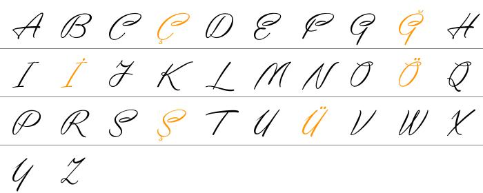 Yaquote Script Büyük Harfler