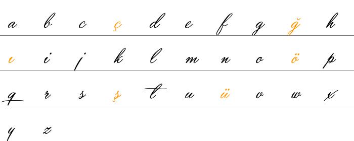 Yaquote Script Küçük Harfler