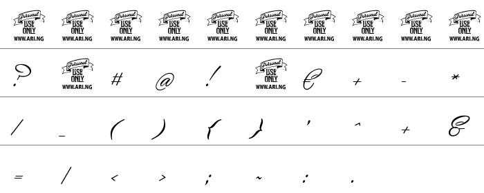 Yaquote Script Rakam ve İşaretler